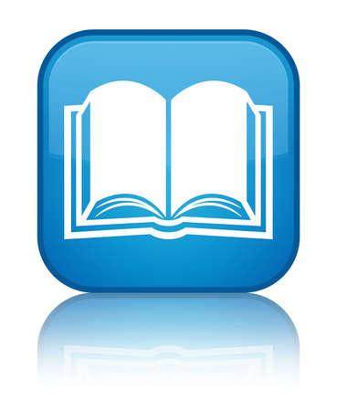 Book-pictogram glanzend blauw weerspiegeld vierkante knop