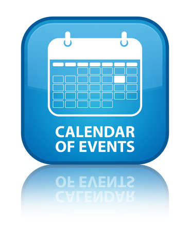 Calendar of events glossy blue reflected square button photo