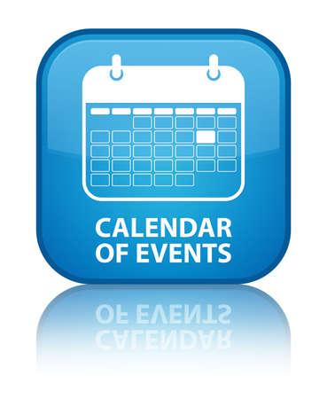 annual event: Calendario de eventos brillante azul refleja bot�n cuadrado