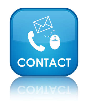 Contact glossy blue reflected square button photo