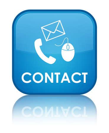 Contact opnemen met glanzende blauwe weerspiegeld vierkante knop