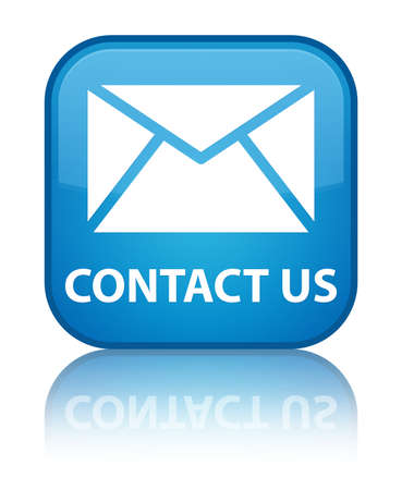 Contact us glossy blue reflected square button photo