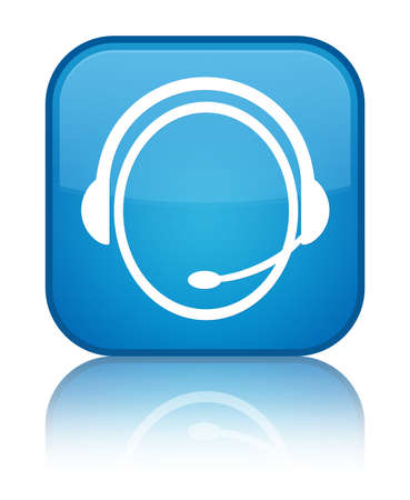 Customer care icon glossy blue reflected square button Stock Photo - 18570073