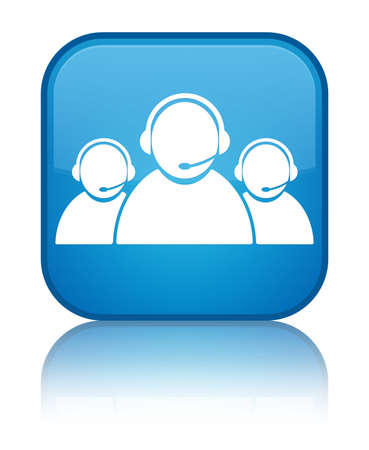 Customer care team icon glossy blue reflected square button photo
