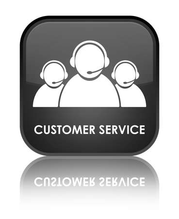 Customer service glossy black reflected square button photo