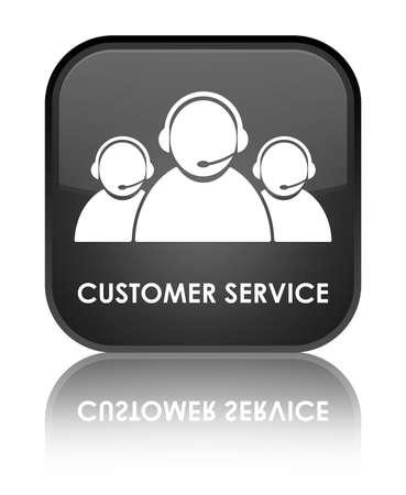 Customer service glossy black reflected square button Stock Photo - 18570050