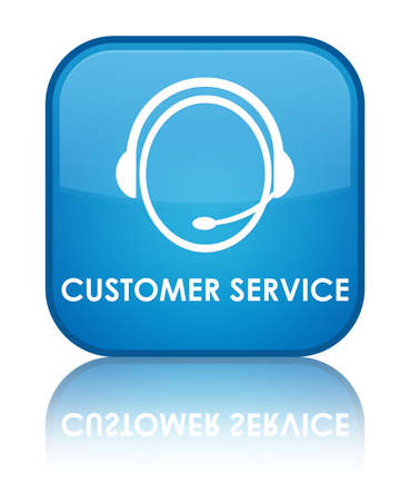 Customer service glossy blue reflected square button Stock Photo - 18570081