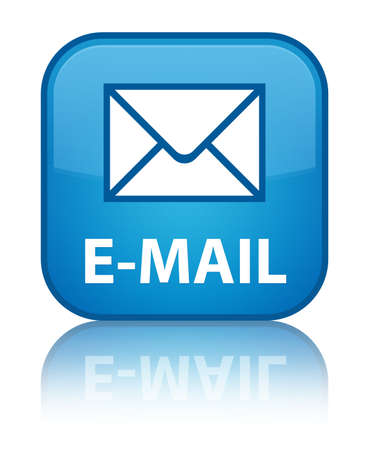 reflected: E-mail glossy blue reflected square button Stock Photo