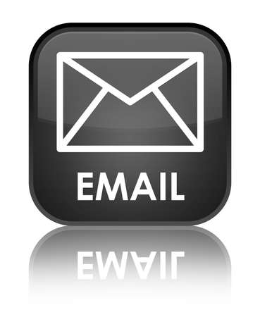 Email glossy black reflected square button photo