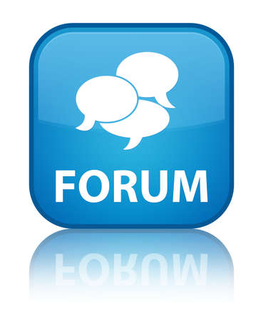 Forum glossy blue reflected square button Stock Photo - 18570058