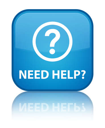 Need help  question mark icon  glossy blue reflected square button Stock Photo - 18570075