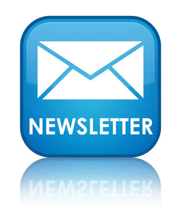 Nieuwsbrief glanzende blauwe weerspiegeld vierkante knop