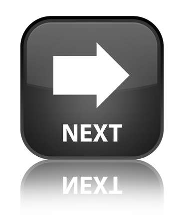 Next glossy black reflected square button Stock Photo