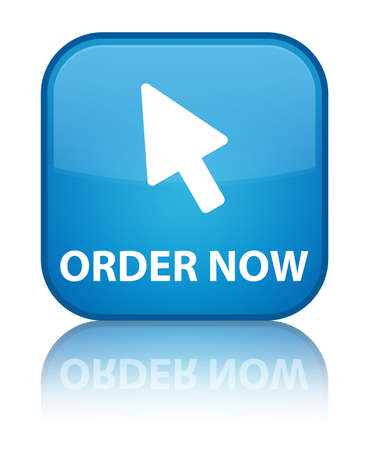 subscribe now: Order now glossy blue reflected square button Stock Photo