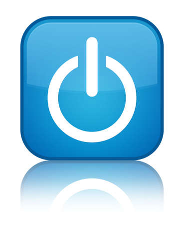 Power icon glossy blue reflected square button Stock Photo - 18570038