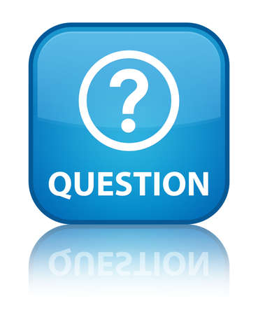 Question glossy blue reflected square button photo