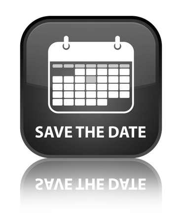 Save the date glanzend zwarte weerspiegeld vierkante knop Stockfoto