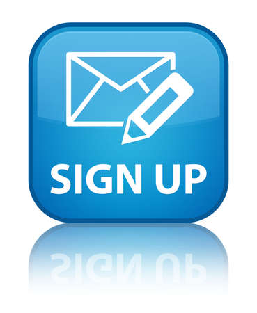 registry: Sign up glossy blue reflected square button Stock Photo