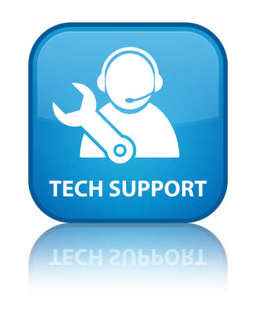 reflected: Tech support glossy blue reflected square button Stock Photo