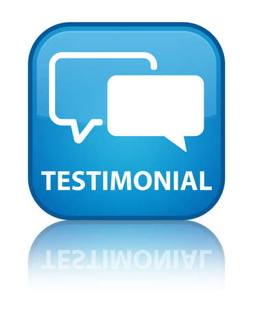feedback icon: Testimonial glossy blue reflected square button Stock Photo