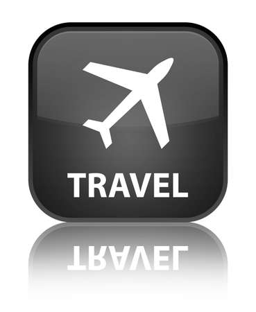 airway: Travel glossy black reflected square button