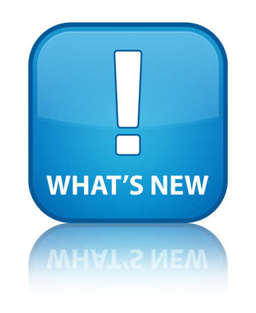 What s new glossy blue reflected square button Stock Photo