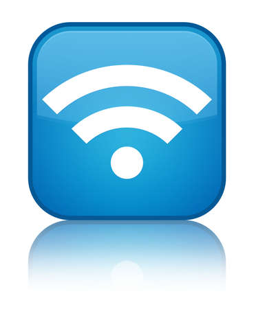 Wifi icon glossy blue reflected square button photo