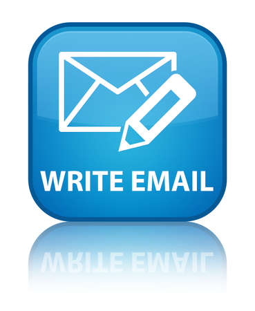 Write email glossy blue reflected square button photo