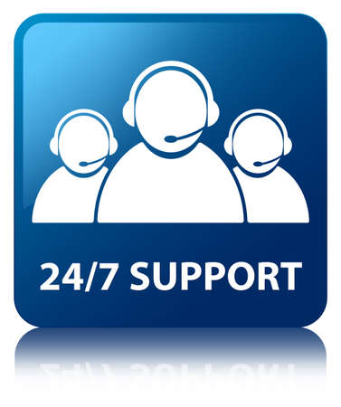 24 7 Support glossy blue reflected square button
