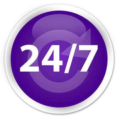 24 7 recycle icon glossy purple button photo