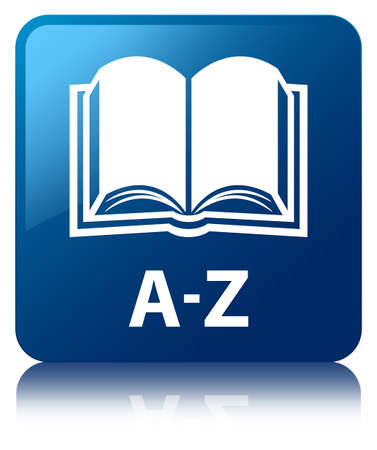 A-Z  book icon  glossy blue reflected square button Stockfoto