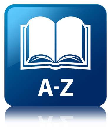 Vierkante knop AZ boekpictogram glanzende blauwe gereflecteerd