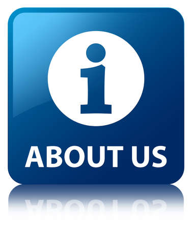 About us glossy blue reflected square button Standard-Bild