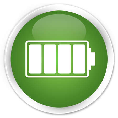 Battery full icon glossy green button photo