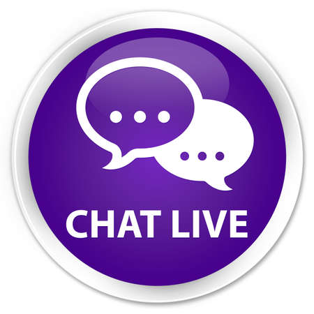 kletsen: Chat live glanzende paarse knop Stockfoto