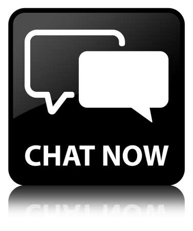 Chat now glossy black reflected square button photo
