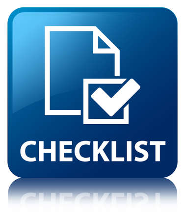 valid: Checklist glossy blue reflected square button Stock Photo