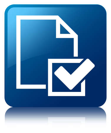 Checklist icon glossy blue reflected square button Stock Photo