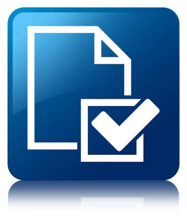 Checklist pictogram glanzend blauw weerspiegeld vierkante knop