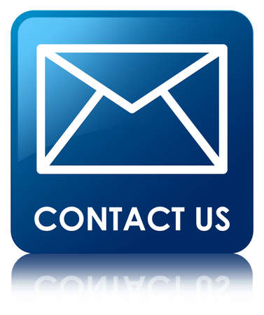 reflected: Contact us  email icon  glossy blue reflected square button Stock Photo