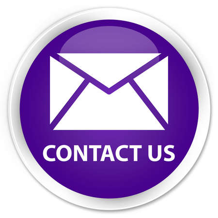 flysheet: Contact us  email icon  glossy purple button Stock Photo