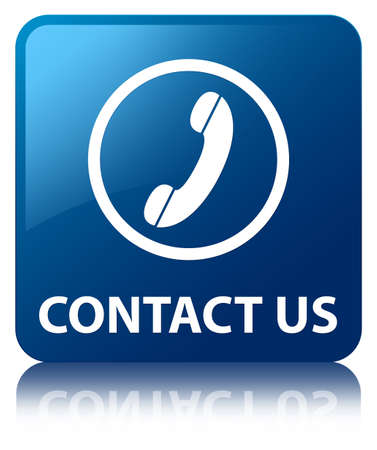 contact us icon: Contact us  phone icon  glossy blue reflected square button