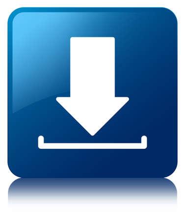 Download icon glanzend blauw weerspiegeld vierkante knop Stockfoto