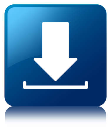 Download icon glossy blue reflected square button Stock Photo