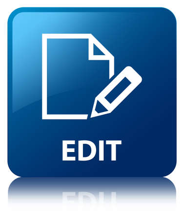 edit icon: Edit page glossy blue reflected square button