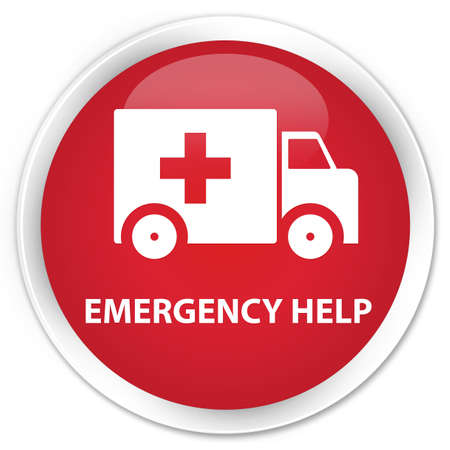 Emergency help glossy red button Standard-Bild