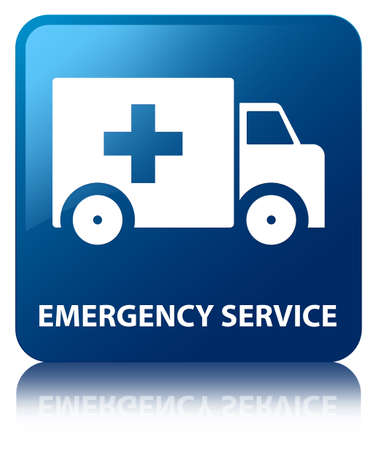 Emergency service glossy blue reflected square button photo