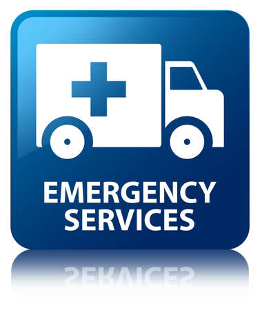 Emergency services glossy blue reflected square button photo