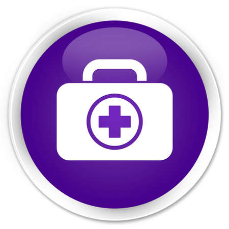 First aid kit icon glossy purple button photo