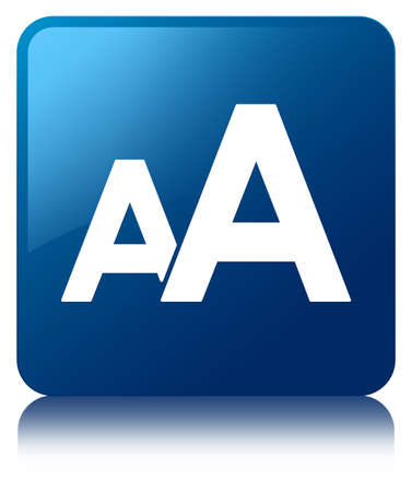 Font size icon glossy blue reflected square button photo